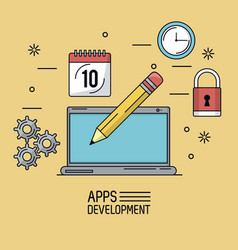 beige background poster of apps development with vector image