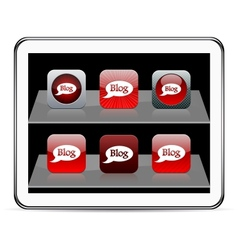 Blog red app icons vector image