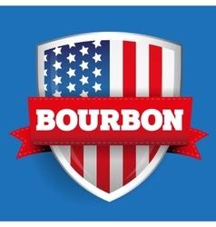 Bourbon ribbon on USA flag shield vector image