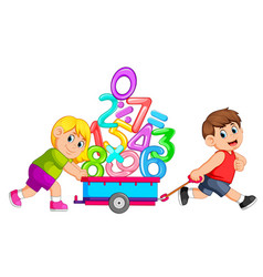 boy pulling and girl pushing wagon of numbers vector image