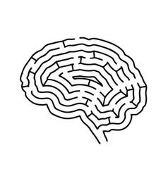 brain shaped maze black silhouette on white vector image
