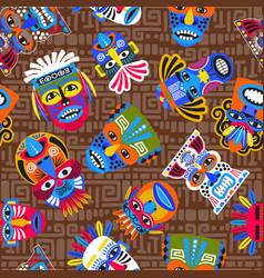 Brown tribal masks seamless pattern vector