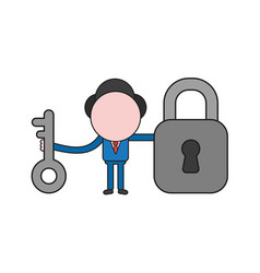 Businessman character holding key and closed vector