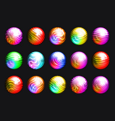Buttons waves flowing crystal balls lines grid vector