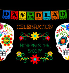 card for day of the dead vector image