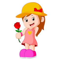 cartoon of a girl with a flower vector image