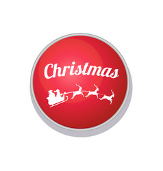 christmas button with santa claus and three deer vector image vector image
