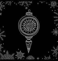Christmas tree decoration bauble line art vector