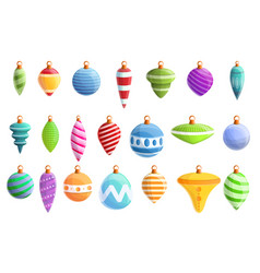 christmas tree toys icons set cartoon style vector image