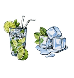 Cocktail and ice vector