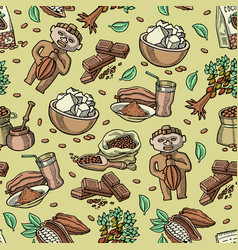cocoa seamless pattern cartoon chocolate vector image