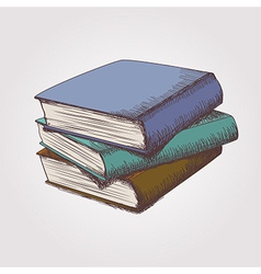 Colorful sketch of books stack vector