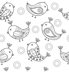 Coloring antistress with cartoon birds vector image