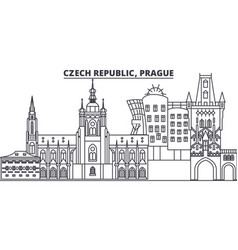 Czech republic prague line skyline vector