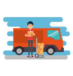 delivery worker with van vector image
