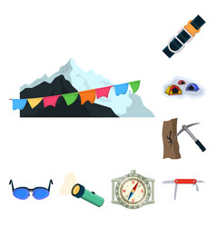 Design of mountaineering and peak sign set vector