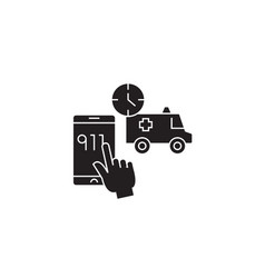 emergency call black concept icon vector image