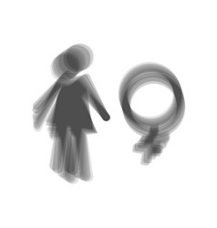 Female sign gray icon shaked vector