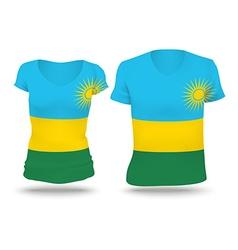 Flag shirt design of Rwanda vector image