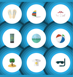 Flat icon beach set of moisturizer coconut ocean vector