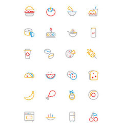 Food Colored Outline Icons 3 vector
