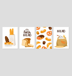 fresh bread cards vector image