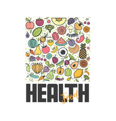 fruits and vegetables vegetarian banner healthy vector image