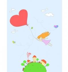 girl flying vector image