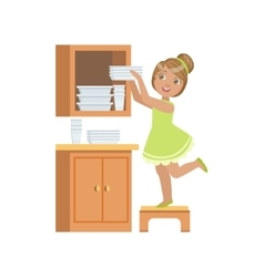 Girl putting the plates in cupboard vector
