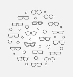 Glasses round in thin line vector