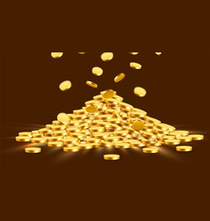 Gold shiny coins with star signs in heap big vector