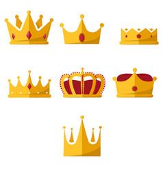 golden crowns flat design royal 7-pack vector image
