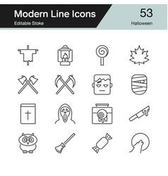 Halloween icons modern line design set 53 for vector