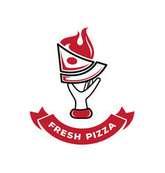 Hand held fresh pizza with fire logo vector