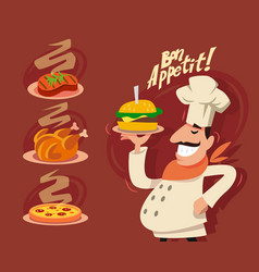 Happy chef serving the dish vector