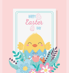 happy easter cute chicken flowers floral vector image