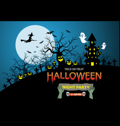 happy halloween night party holiday celebration vector image