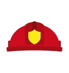 helmet red firefighter icon vector image
