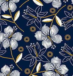 Hibiscus tropical embroidery navy seamless pattern vector image