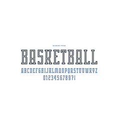 Hollow serif font in the sport style vector