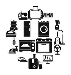 household appliances icons set simple style vector image