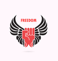 human hand and wingsred fist and wing iconforce vector image