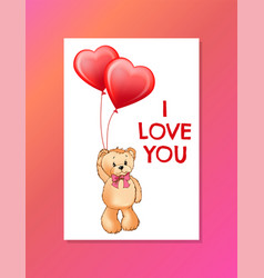 I love you inscription on poster cute teddy bear vector