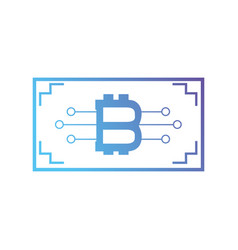 line bitcoin bill with digital circuits vector image
