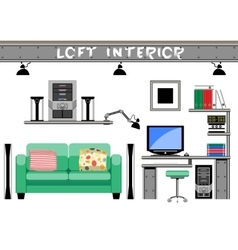 living room interior loft vector image