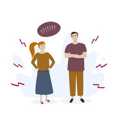 Man and woman in a quarrel flat colorful vector