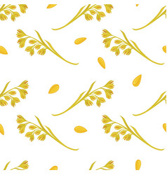 oat ears of grain seamless pattern on white vector image