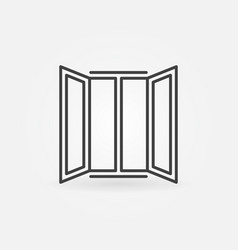opened window icon in outline style vector image