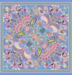 Paisley bandana print square pattern blue vector
