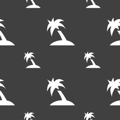 Palm Tree Travel trip icon sign Seamless pattern vector image
